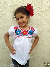 Mexican Blouse Girl Children Embroidered 5 De Mayo,Mexican Fiesta/Blusa De Niña