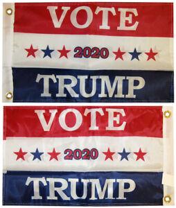 "Vote 2020 Trump RWB Double Sided 150D Woven Poly Nylon 12""x18"" Flag Grommets"