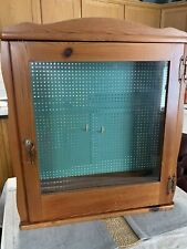 Wooden Display Case With Pegboard And Lock