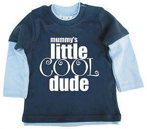 Dirty Fingers Funny Baby Boy Skater Top Mummy's Little Cool Dude Long Sleeve Tee