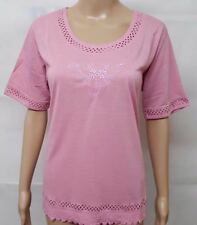 LADIES TOPS EMBROIDERY LASER CUT T-SHIRT SHORT SLEEVED EVERYDAY WEAR STYLE 1 & 2
