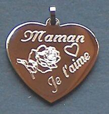 pendentif coeur acier gravé personnalisé  fête des mères maman je t'aime