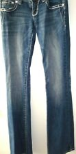 Grace In LA Denim Med Blue Jeans Junior Sz 5 Jeweled Cross Pocket Skinny Fit