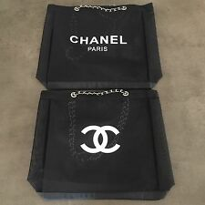 CHANEL Mesh Tote Bag CC Shoulder VIP Beach Black Silver Leather Chain Authentic