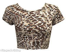 Womens Printed Plain Bra Tee Crew Neck Short Sleeve Crop Top Vest T Shirt Choco Cream Print 12-14