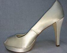 Calvin Klein Women's 'Sandie'  Ivory Satin Dress  Platform Shoes Size 9.5M