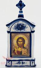 Russia Porcelain Gzhel Orthodox Shrine Kiot Icon Christ Pantocrator Вседержитель