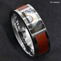 8mm Silver Tungsten Ring Koa Wood Abalone Inlay ATOP Wedding Band Men's Jewelry