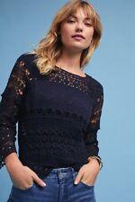 NWT Deletta Navy Blue Crochet & Lace Top Size L