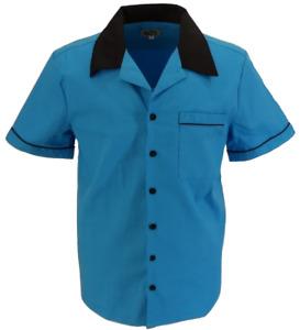 Mens Retro Blue Rockabilly Bowling Shirts