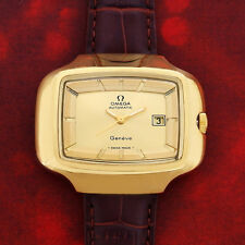 RARE VINTAGE BIG-SIZE OMEGA GENEVE MEN'S AUTO 18K-GP GOLD DIAL DATE WATCH