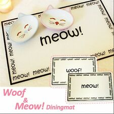 Luxury Dining Set- Meow&Woof Dining Placemat w/ Shiny Food Bowl Dog/Cat Non-Skid