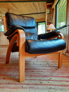 Armchair Club Chair Retro Leather Vintage 60er Easy Danish Westnofa Era 70er