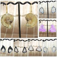 Natural Ammonite Fossil Geode Slice Druzy Silver Plated Drop/Dangle Earrings