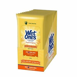Wet Ones Hand Wipes, Tropical Splash Scent, 20 Count (Pack of 10)