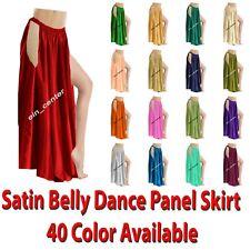 Satin Belly Dance Side Slit A line Skirt Tribal Side Cut Dance Skirt Girls S1-2