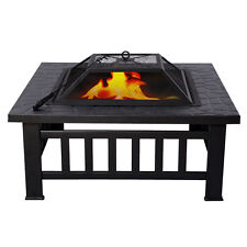 "Outdoor 32"" Metal Firepit Patio Garden Square Stove Fire Pit Brazier New"