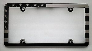 AMERICAN FLAG, Billet Aluminum Black Anodized License Plate Frame, Slim Line