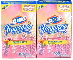 2 Boxes Fraganzia Spring Strong Long Last Fragrance 105 Count Dryer Sheets
