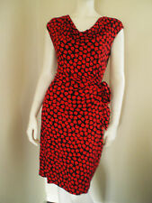 PHASE EIGHT Dress Stretch Ruched Wiggle Apple Print Black/Red Cowl Neck Size 14