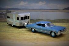 1967 Chevy Impala 4 Door + Siesta Family Camper Collectible Diorama Model 1/64