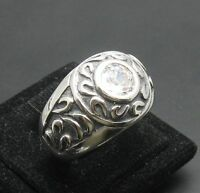 STERLING SILVER RING SOLID 925 MEN CZ NEW SIZE P - Z++