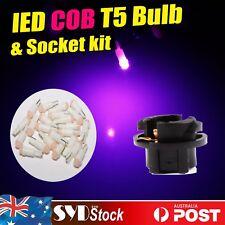 12x Purple Pink T5 COB LED Light + 12x Socket Base Protect Dash Dashboard Repair