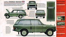 1970 Land Rover Range Rover Especificaciones Hoja/FOLLETO/Catálogo