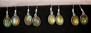 Special list 10 Pair Lot Multi Fire Labradorite Gemstone Silver Plated Earrings