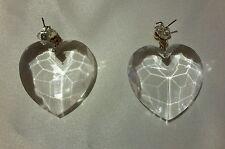 "Clear Cut Heart Statement Dangle Earrings 2"" with Sterling Silver 925 Backings"