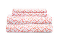 Coastal Print Microfiber Sheet Set TWIN - BURNT CORAL 90 GSM  3-piece Bedding