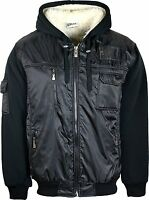 Mens Winter Jacket Hoodie Zip Up Padded Soft Faux Fur Lining Warm Coat Black
