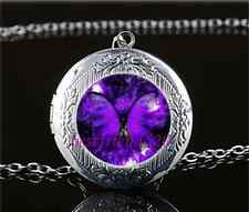 Purple Butterfly Photo Cabochon Glass Tibet Silver Locket Pendant Necklace