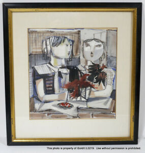 FRAMED SIGNED ART HASEN 51 PARIS Two Women at Table with Birds