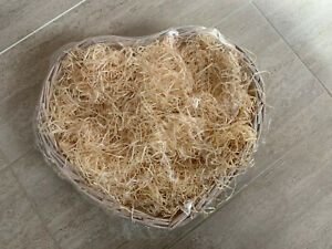 Heart Shaped Wicker Effect Hamper/Pamper Basket - Opened but Unused, Beige/White