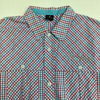 Air Jordan Button Up Shirt Mens XXL Multicolor Check Short Sleeve Casual