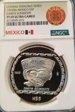 1993 Mexico Pre Columbian 5 Pesos Silver Proof Carita Sonriente 1 Oz .999 Coin