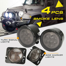 4X LED Turn Signal & Fender Side Marker Light Smoke Lens for 07-17 Jeep Wrangler
