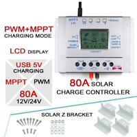LCD 80A 12V/24V MPPT Solar Panel Regulator Charge Controller&USB+4X Z Bracket XI