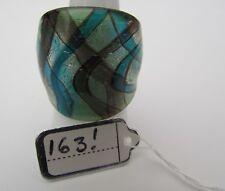 Style Glass Ring. Uk-P.Us-7.5 (163!) A Silver/Green & Blue/Purple Ribbon Murano