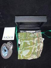 Large Sajen Sterling Silver Mermaid W/ Aquamarine Fiberoptic Wave Inset Brooch