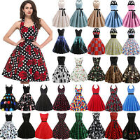 Women's Vintage 1950s 60s Rockabilly Evening Party Prom Gown Retro Swing Dresses