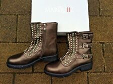 MARQUIZ - BRONZE STUDDED/BEADED BOOTS WITH STRAPS - SIZE UK 6/EUR 39 BOXED