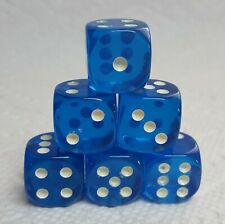 Dice - Koplow's 16mm Glow-in-the-Dark PIPS on TP Blue - Roll in the dark! 6/Set