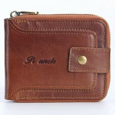 RFID BLOCKING Men's  Leather Zipper Wallet RFID Blocking Card Holder Coin Purse