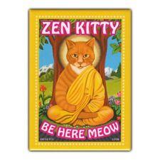 Retro Pets Refrigerator Magnet - Zen Kitty, Orange Tabby Cat - Advertising Art