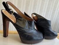 "Coach Brina Snake Embossed Leather 5"" Mules Platform Heels 10 B Open Toe"