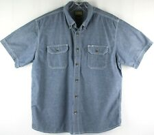 CE Schmidt Workwear Short Sleeve Button Front Blue Shirt SIZE XL