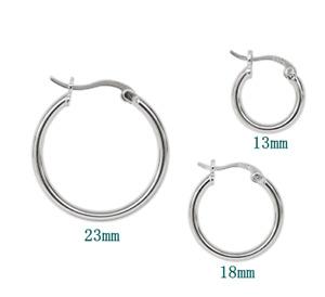 S925 Sterling Silver Men's Women's Round Pierced Hoop Earrings 23mm 18mm 13mm