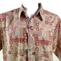 Tori Richard Tribal Symbols Pale Brown XL Hawaiian Aloha Shirt